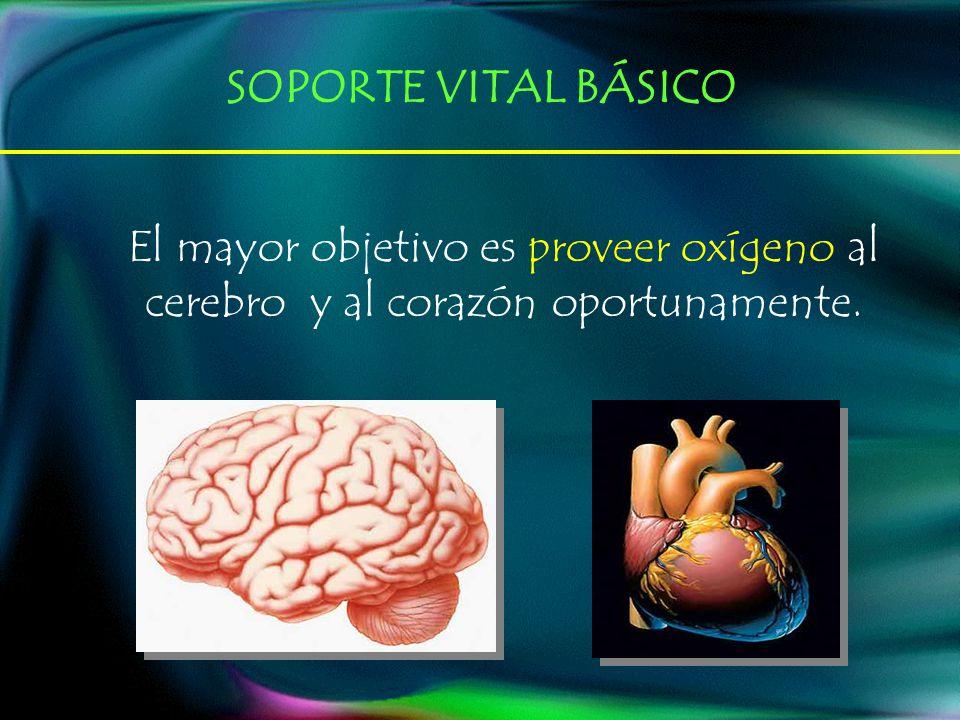 El mayor objetivo es proveer oxígeno al cerebro y al corazón oportunamente. SOPORTE VITAL BÁSICO