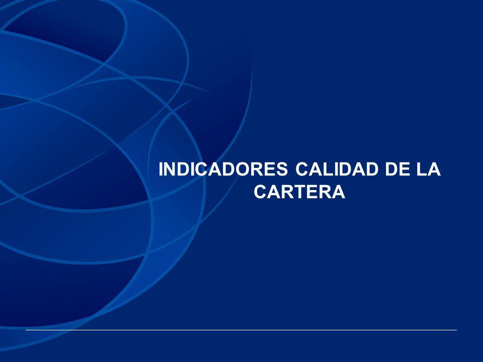 INDICADORES CALIDAD DE LA CARTERA