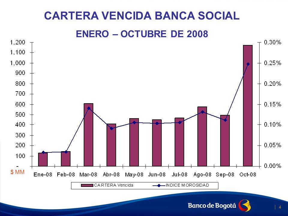 | 4 Banca Social CARTERA VENCIDA BANCA SOCIAL ENERO – OCTUBRE DE 2008 $ MM