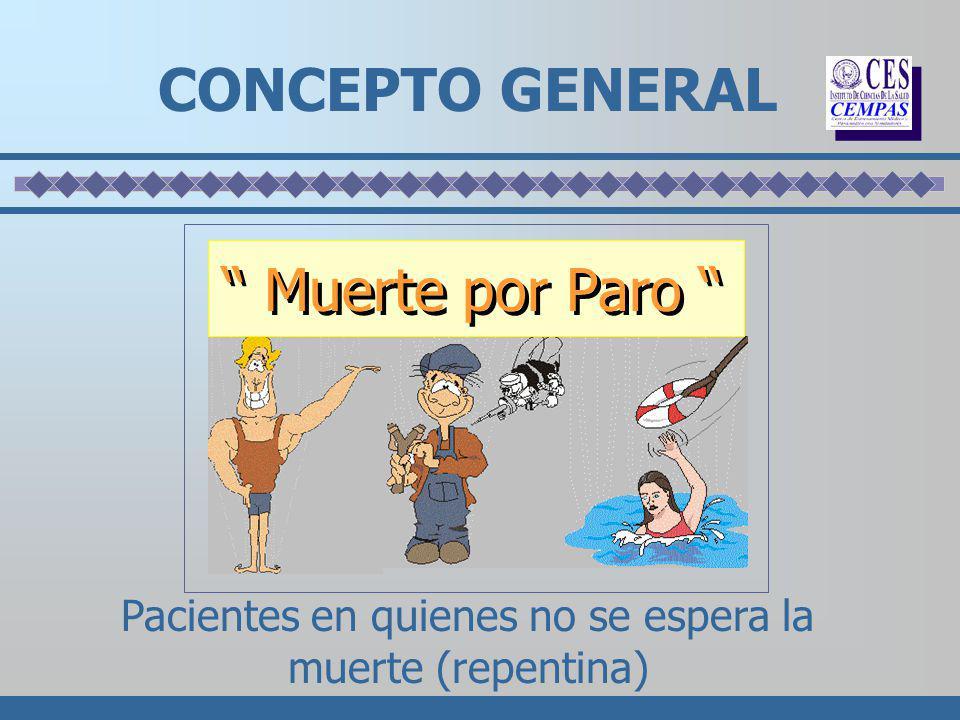CONCEPTO GENERAL Pacientes en quienes no se espera la muerte (repentina) Muerte por Paro