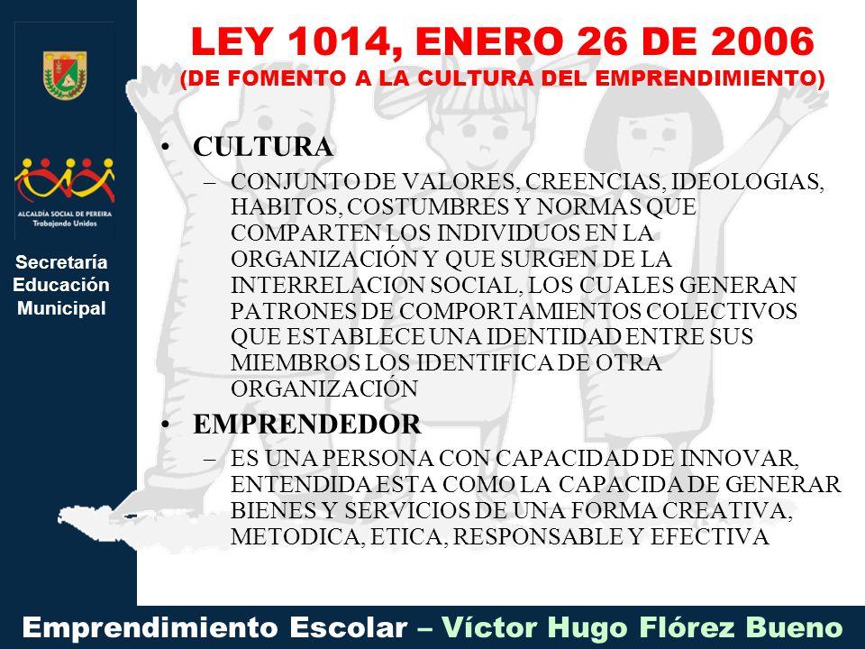 Secretaría Educación Municipal Emprendimiento Escolar – Víctor Hugo Flórez Bueno CULTURA –CONJUNTO DE VALORES, CREENCIAS, IDEOLOGIAS, HABITOS, COSTUMBRES Y NORMAS QUE COMPARTEN LOS INDIVIDUOS EN LA ORGANIZACIÓN Y QUE SURGEN DE LA INTERRELACION SOCIAL, LOS CUALES GENERAN PATRONES DE COMPORTAMIENTOS COLECTIVOS QUE ESTABLECE UNA IDENTIDAD ENTRE SUS MIEMBROS LOS IDENTIFICA DE OTRA ORGANIZACIÓN EMPRENDEDOR –ES UNA PERSONA CON CAPACIDAD DE INNOVAR, ENTENDIDA ESTA COMO LA CAPACIDA DE GENERAR BIENES Y SERVICIOS DE UNA FORMA CREATIVA, METODICA, ETICA, RESPONSABLE Y EFECTIVA LEY 1014, ENERO 26 DE 2006 (DE FOMENTO A LA CULTURA DEL EMPRENDIMIENTO)