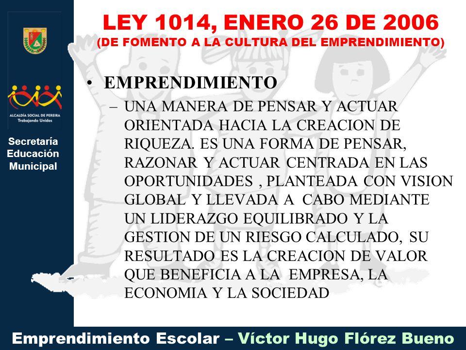 Secretaría Educación Municipal Emprendimiento Escolar – Víctor Hugo Flórez Bueno EMPRENDIMIENTO –UNA MANERA DE PENSAR Y ACTUAR ORIENTADA HACIA LA CREACION DE RIQUEZA.