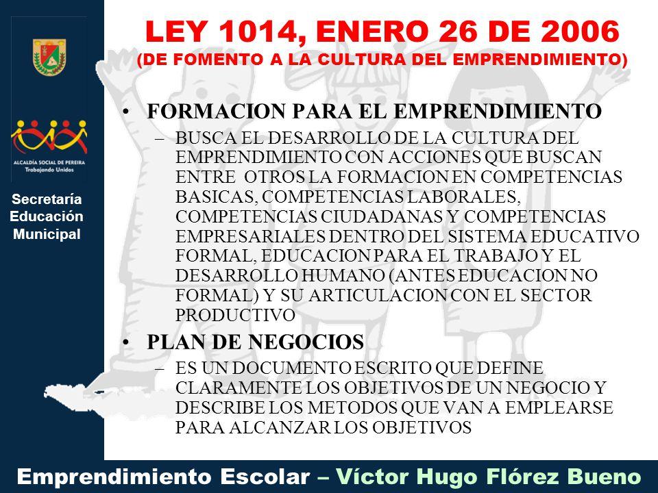 Secretaría Educación Municipal Emprendimiento Escolar – Víctor Hugo Flórez Bueno FORMACION PARA EL EMPRENDIMIENTO –BUSCA EL DESARROLLO DE LA CULTURA D