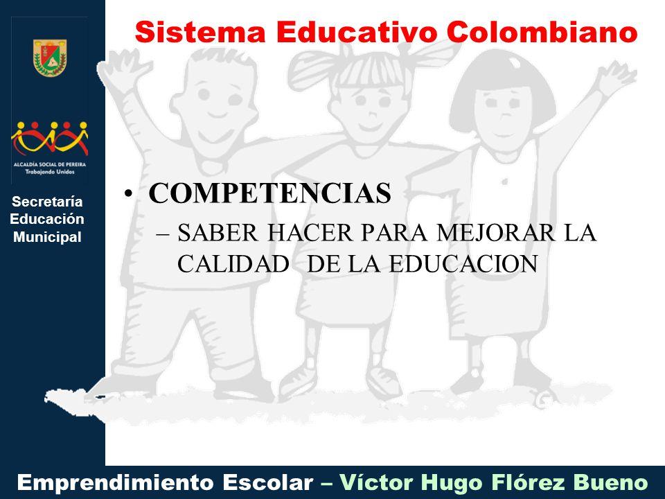 Secretaría Educación Municipal Emprendimiento Escolar – Víctor Hugo Flórez Bueno COMPETENCIAS –SABER HACER PARA MEJORAR LA CALIDAD DE LA EDUCACION Sistema Educativo Colombiano
