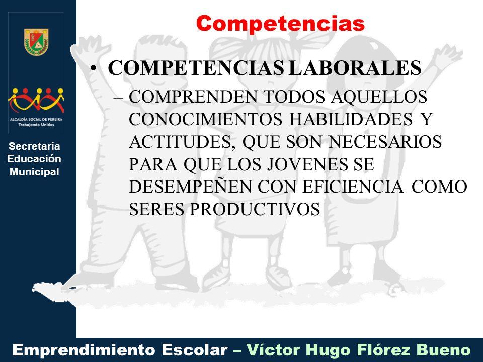 Secretaría Educación Municipal Emprendimiento Escolar – Víctor Hugo Flórez Bueno COMPETENCIAS LABORALES –COMPRENDEN TODOS AQUELLOS CONOCIMIENTOS HABILIDADES Y ACTITUDES, QUE SON NECESARIOS PARA QUE LOS JOVENES SE DESEMPEÑEN CON EFICIENCIA COMO SERES PRODUCTIVOS Competencias