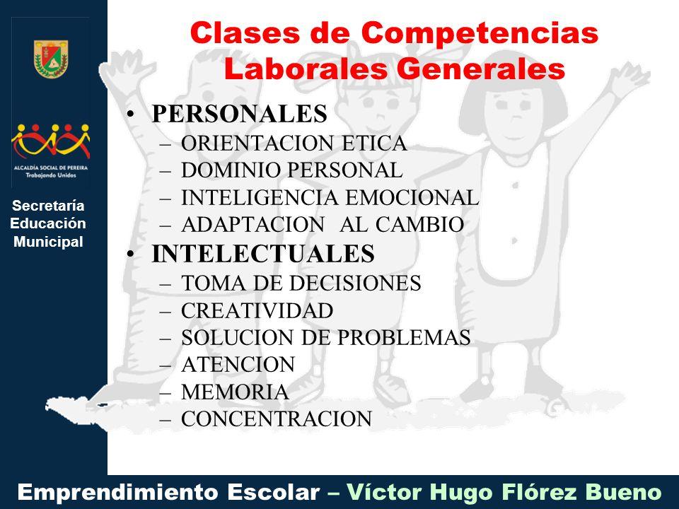Secretaría Educación Municipal Emprendimiento Escolar – Víctor Hugo Flórez Bueno PERSONALES –ORIENTACION ETICA –DOMINIO PERSONAL –INTELIGENCIA EMOCION