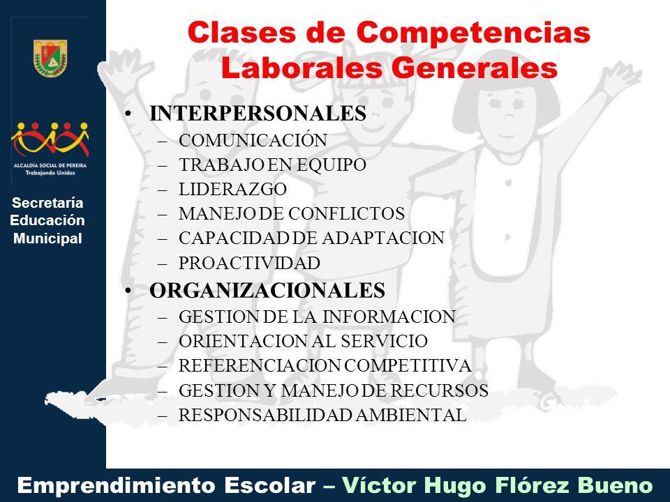 Secretaría Educación Municipal Emprendimiento Escolar – Víctor Hugo Flórez Bueno INTERPERSONALES –COMUNICACIÓN –TRABAJO EN EQUIPO –LIDERAZGO –MANEJO DE CONFLICTOS –CAPACIDAD DE ADAPTACION –PROACTIVIDAD ORGANIZACIONALES –GESTION DE LA INFORMACION –ORIENTACION AL SERVICIO –REFERENCIACION COMPETITIVA –GESTION Y MANEJO DE RECURSOS –RESPONSABILIDAD AMBIENTAL Clases de Competencias Laborales Generales