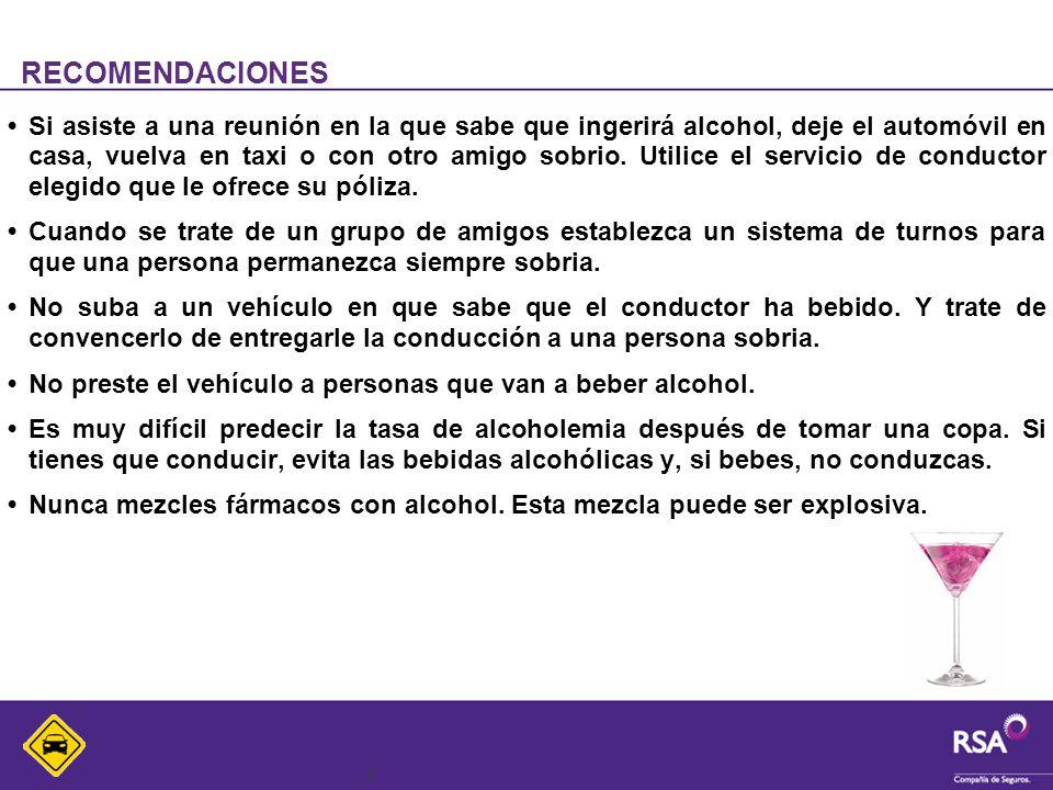 8 RECOMENDACIONES Si asiste a una reunión en la que sabe que ingerirá alcohol, deje el automóvil en casa, vuelva en taxi o con otro amigo sobrio. Util