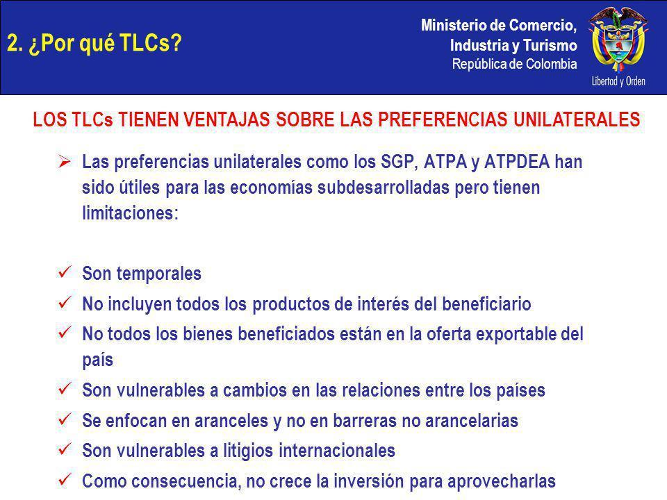 Ministerio de Comercio, Industria y Turismo República de Colombia 2. ¿Por qué TLCs? Las preferencias unilaterales como los SGP, ATPA y ATPDEA han sido