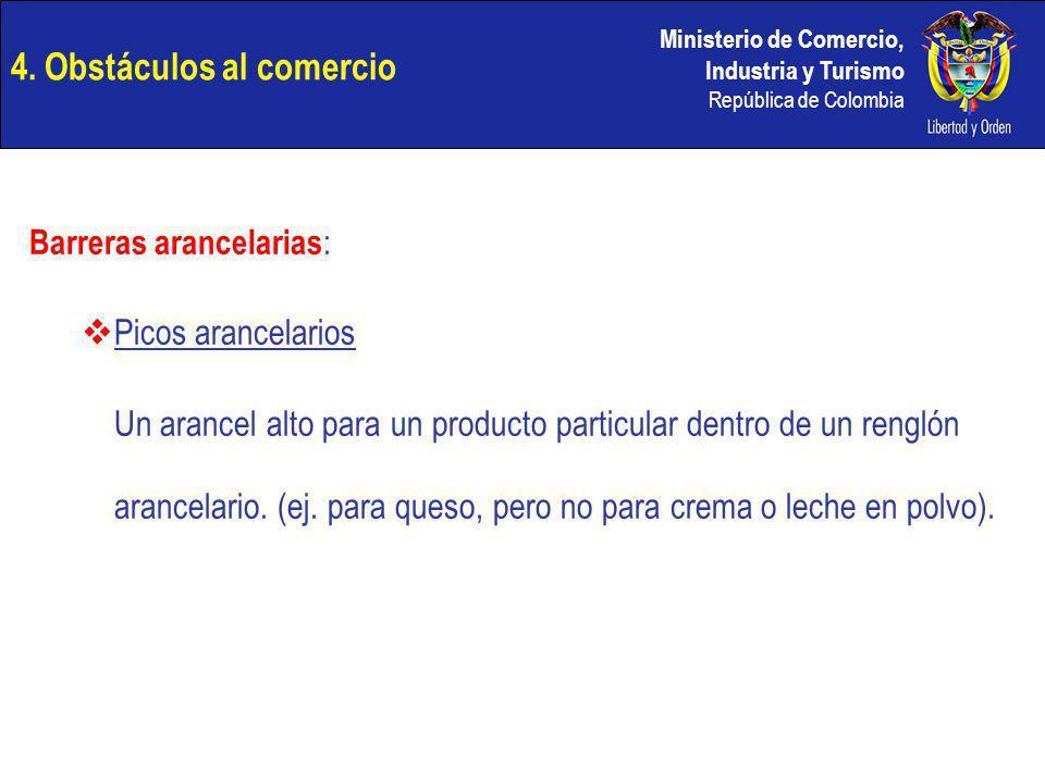 Ministerio de Comercio, Industria y Turismo República de Colombia 4. Obstáculos al comercio Barreras arancelarias : Picos arancelarios Un arancel alto