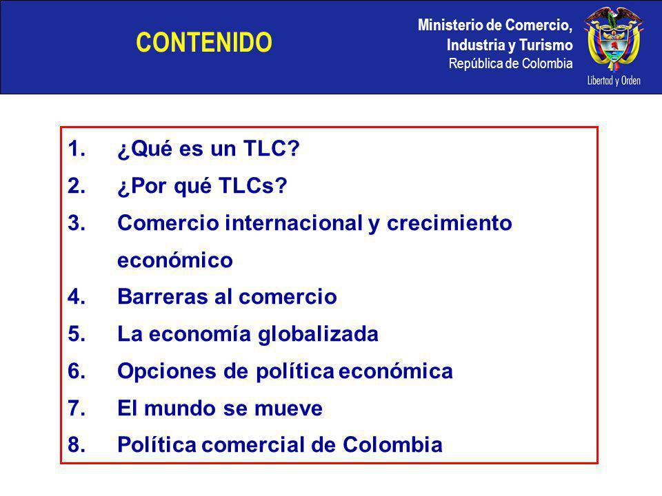 Ministerio de Comercio, Industria y Turismo República de Colombia CONTENIDO 1.¿Qué es un TLC? 2.¿Por qué TLCs? 3.Comercio internacional y crecimiento