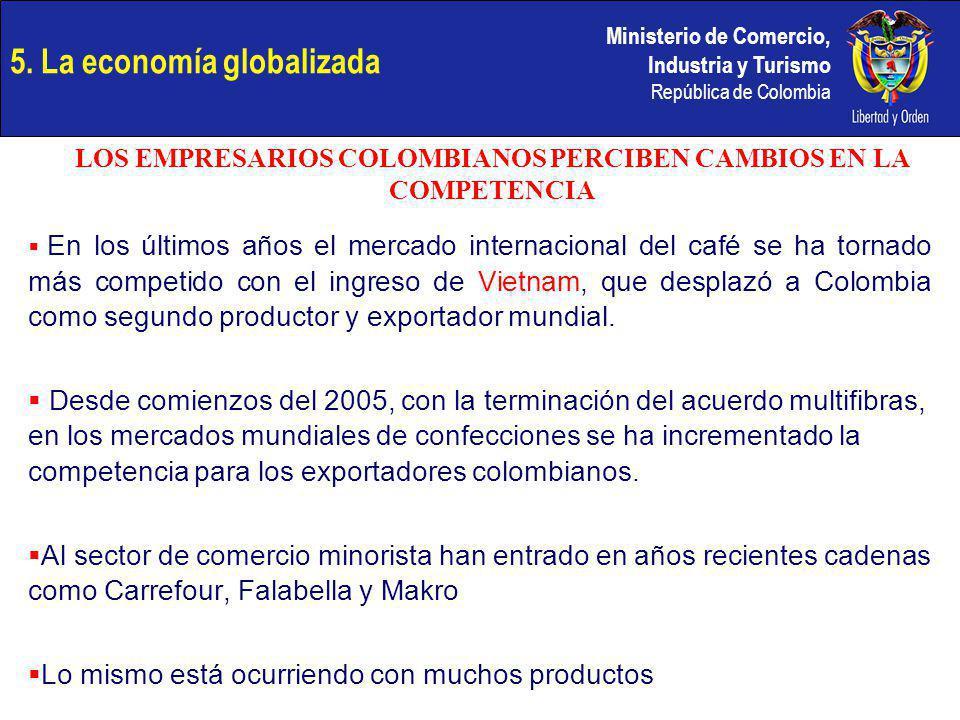 Ministerio de Comercio, Industria y Turismo República de Colombia En los últimos años el mercado internacional del café se ha tornado más competido co