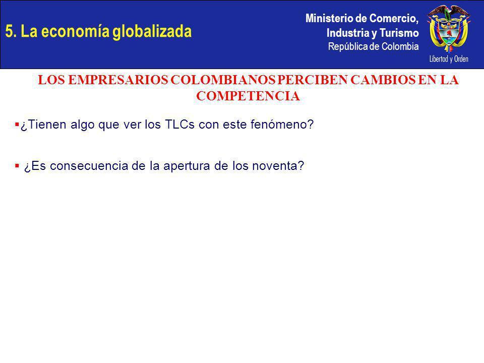 Ministerio de Comercio, Industria y Turismo República de Colombia ¿Tienen algo que ver los TLCs con este fenómeno? ¿Es consecuencia de la apertura de