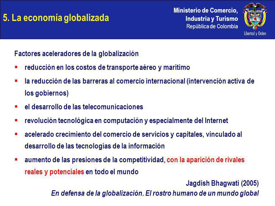 Ministerio de Comercio, Industria y Turismo República de Colombia 5. La economía globalizada Factores aceleradores de la globalización reducción en lo