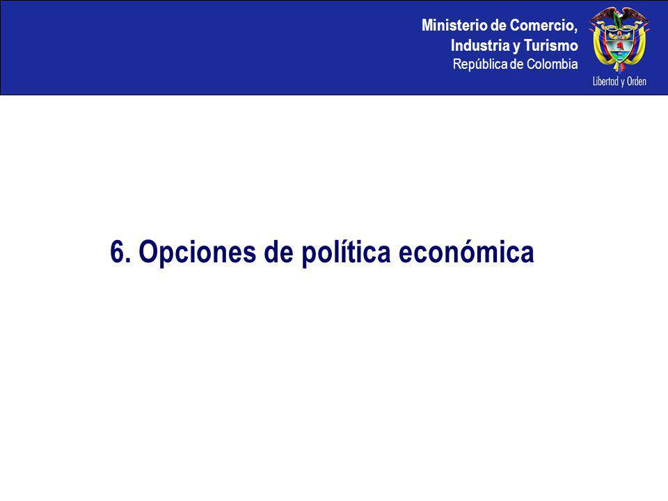 Ministerio de Comercio, Industria y Turismo República de Colombia 6. Opciones de política económica