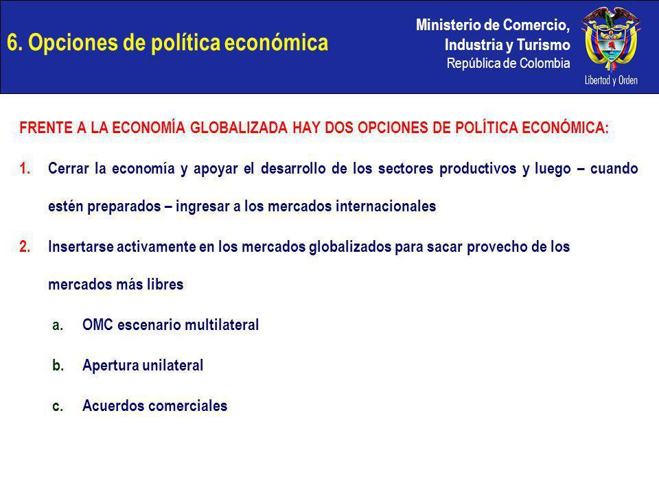 Ministerio de Comercio, Industria y Turismo República de Colombia 6. Opciones de política económica FRENTE A LA ECONOMÍA GLOBALIZADA HAY DOS OPCIONES