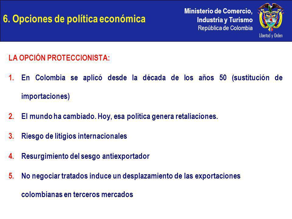 Ministerio de Comercio, Industria y Turismo República de Colombia 6. Opciones de política económica LA OPCIÓN PROTECCIONISTA: 1.En Colombia se aplicó