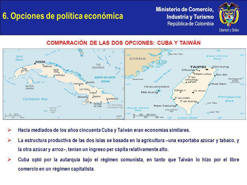 Ministerio de Comercio, Industria y Turismo República de Colombia 6. Opciones de política económica COMPARACIÓN DE LAS DOS OPCIONES: CUBA Y TAIWÁN Hac