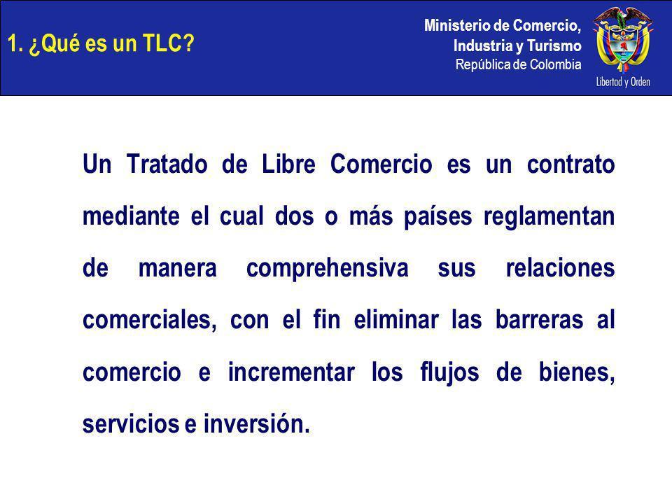 Ministerio de Comercio, Industria y Turismo República de Colombia 1. ¿Qué es un TLC? Un Tratado de Libre Comercio es un contrato mediante el cual dos