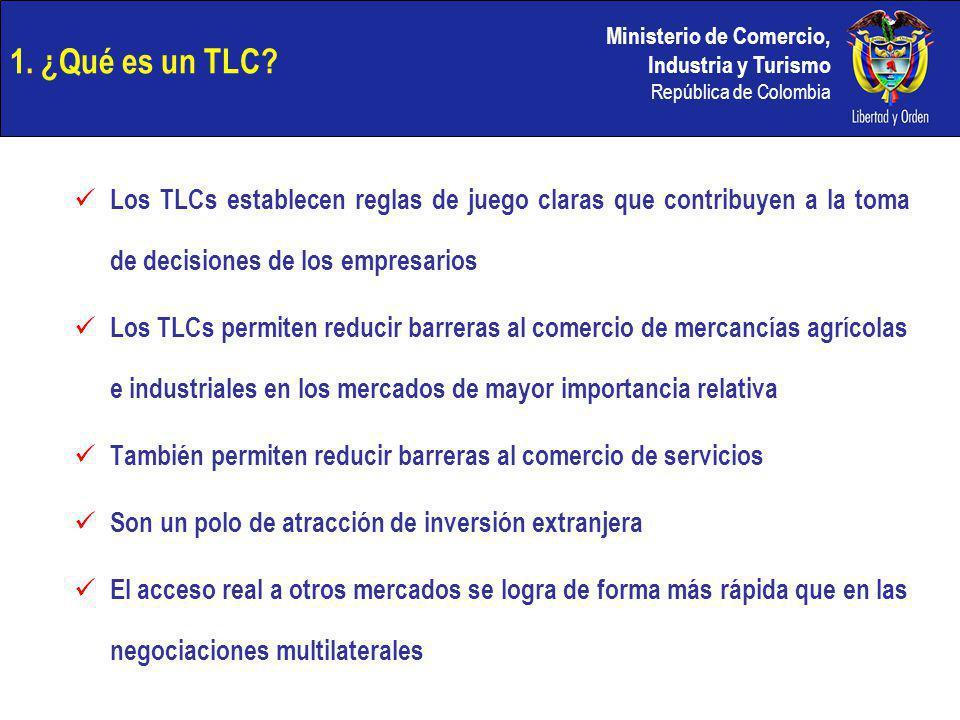 Ministerio de Comercio, Industria y Turismo República de Colombia 1. ¿Qué es un TLC? Los TLCs establecen reglas de juego claras que contribuyen a la t