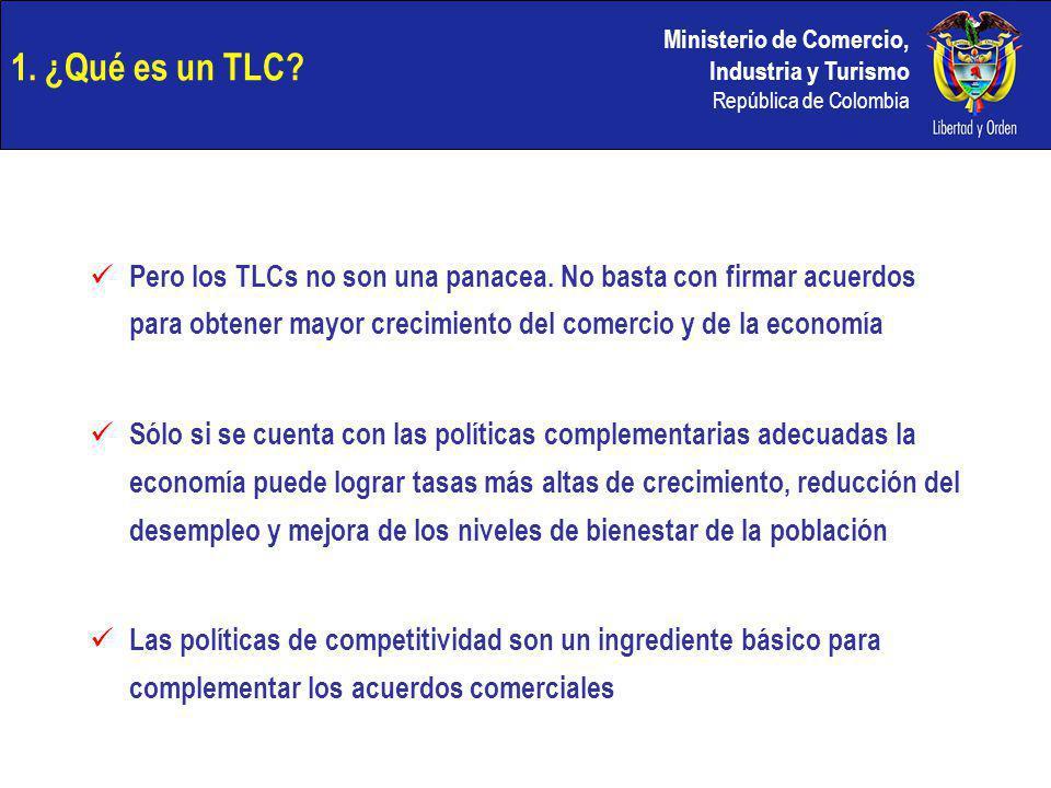 Ministerio de Comercio, Industria y Turismo República de Colombia 1. ¿Qué es un TLC? Pero los TLCs no son una panacea. No basta con firmar acuerdos pa