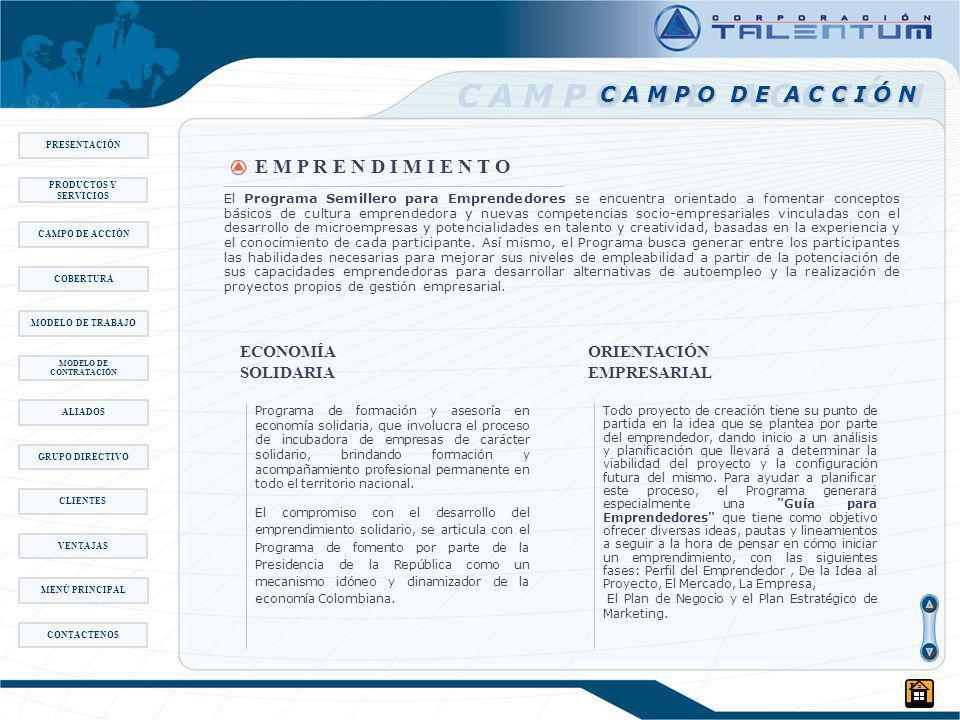El Programa Semillero para Emprendedores se encuentra orientado a fomentar conceptos básicos de cultura emprendedora y nuevas competencias socio-empresariales vinculadas con el desarrollo de microempresas y potencialidades en talento y creatividad, basadas en la experiencia y el conocimiento de cada participante.