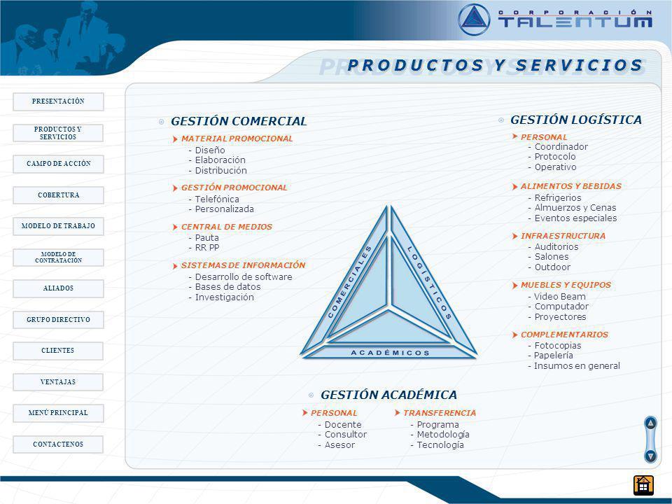 PRODUCTOS Y SERVICIOS GESTIÓN COMERCIAL MATERIAL PROMOCIONAL - Diseño - Elaboración - Distribución GESTIÓN PROMOCIONAL - Telefónica - Personalizada CENTRAL DE MEDIOS - Pauta - RR PP SISTEMAS DE INFORMACIÓN - Desarrollo de software - Bases de datos - Investigación GESTIÓN LOGÍSTICA PERSONAL - Coordinador - Protocolo - Operativo ALIMENTOS Y BEBIDAS - Refrigerios - Almuerzos y Cenas - Eventos especiales INFRAESTRUCTURA - Auditorios - Salones - Outdoor MUEBLES Y EQUIPOS -Video Beam - Computador - Proyectores COMPLEMENTARIOS - Fotocopias -Papelería -Insumos en general PERSONAL - Docente - Consultor - Asesor TRANSFERENCIA - Programa - Metodología - Tecnología GESTIÓN ACADÉMICA PRESENTACIÓN CAMPO DE ACCIÓN MODELO DE TRABAJO MODELO DE CONTRATACIÓN ALIADOS COBERTURA GRUPO DIRECTIVO PRODUCTOS Y SERVICIOS CLIENTES VENTAJAS MENÚ PRINCIPAL CONTACTENOS