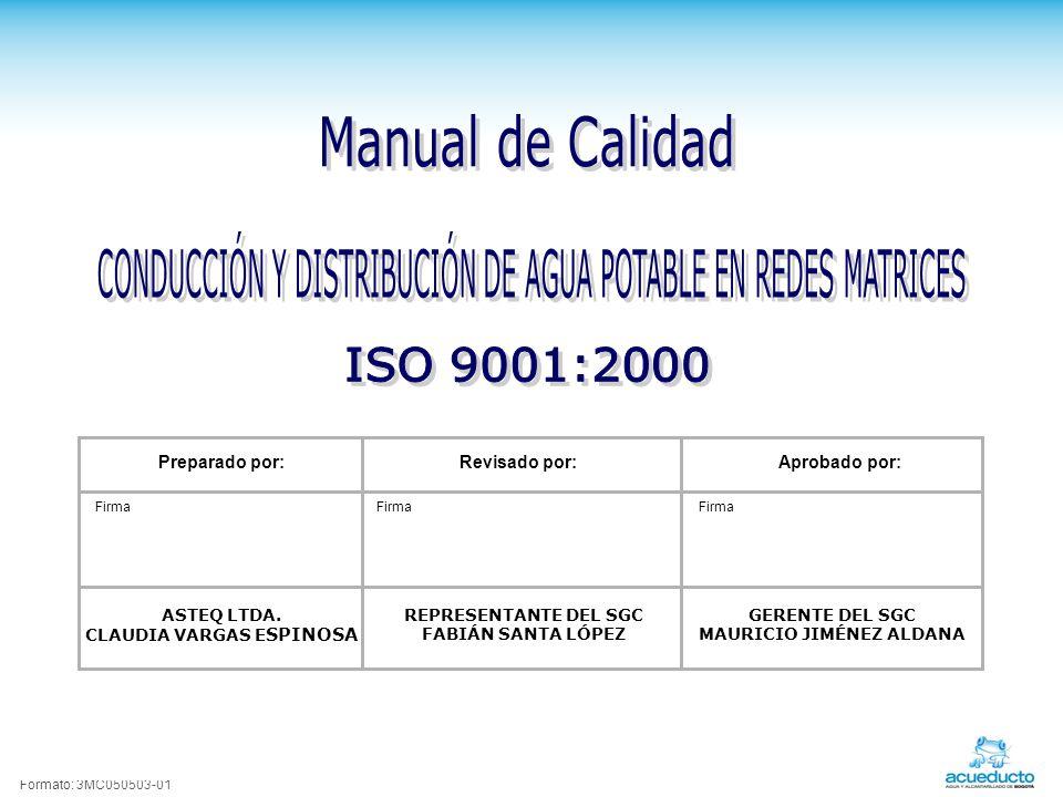 Formato: 3MC050503-01 Preparado por:Revisado por:Aprobado por: Firma ASTEQ LTDA.
