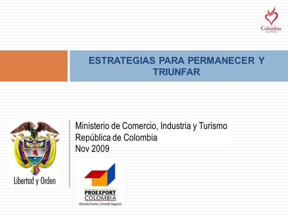 ESTRATEGIAS PARA PERMANECER Y TRIUNFAR Ministerio de Comercio, Industria y Turismo República de Colombia Nov 2009