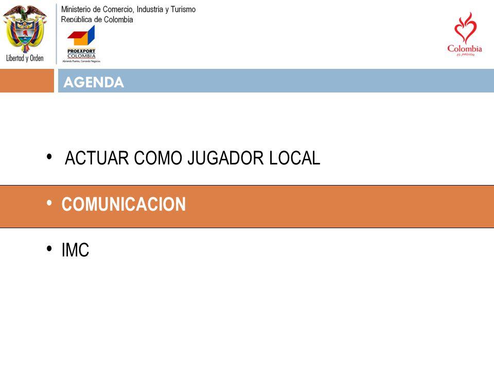 AGENDA ACTUAR COMO JUGADOR LOCAL COMUNICACION IMC