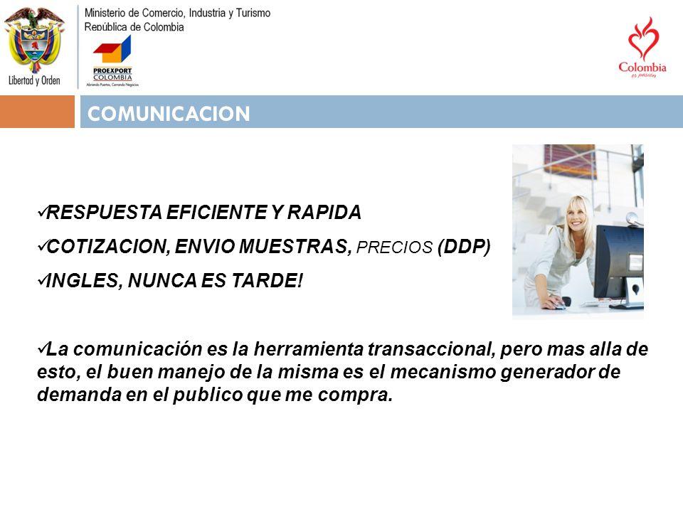 COMUNICACION RESPUESTA EFICIENTE Y RAPIDA COTIZACION, ENVIO MUESTRAS, PRECIOS (DDP) INGLES, NUNCA ES TARDE! La comunicación es la herramienta transacc