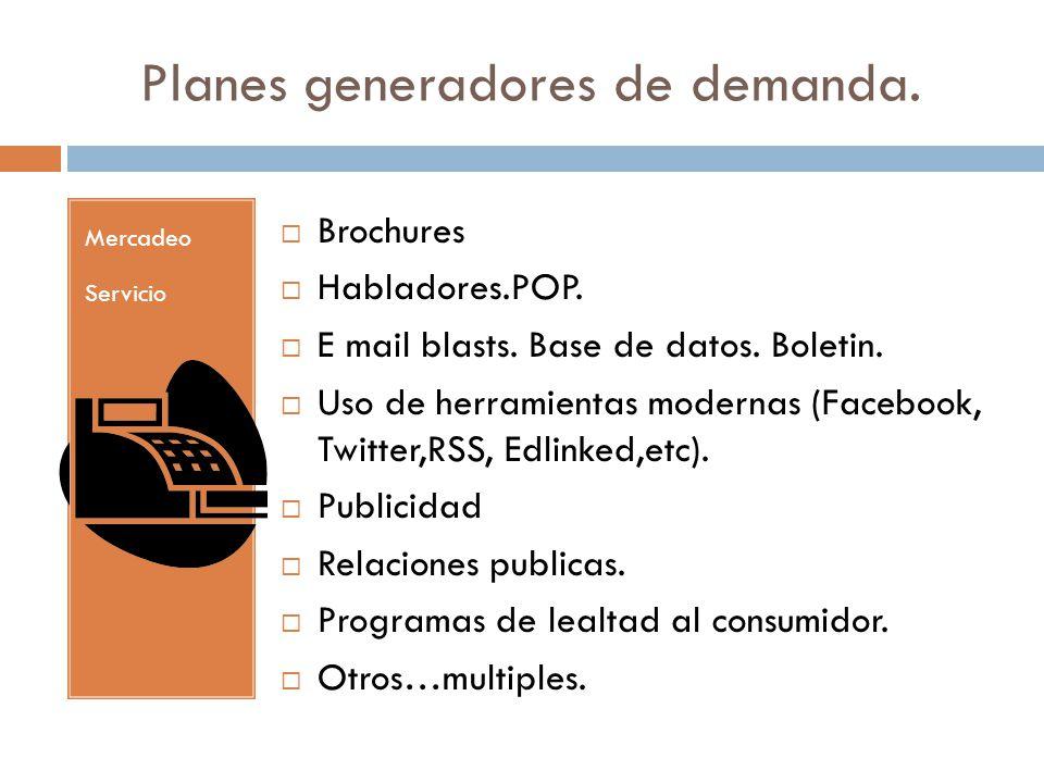 Planes generadores de demanda. Mercadeo Servicio Brochures Habladores.POP. E mail blasts. Base de datos. Boletin. Uso de herramientas modernas (Facebo