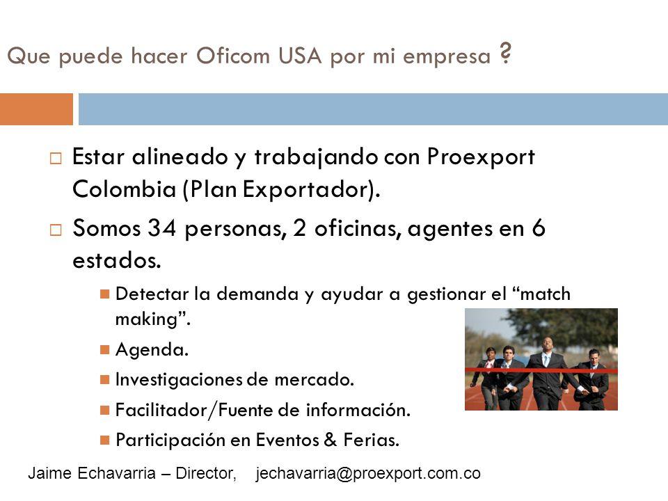 Que puede hacer Oficom USA por mi empresa ? Estar alineado y trabajando con Proexport Colombia (Plan Exportador). Somos 34 personas, 2 oficinas, agent