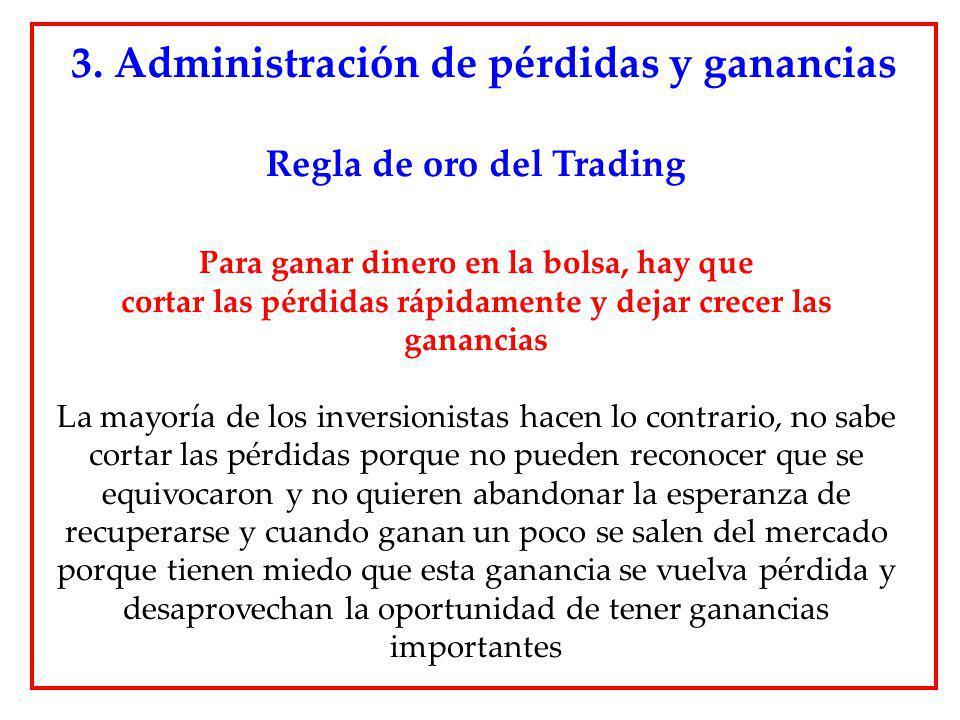 Regla de oro del Trading Para ganar dinero en la bolsa, hay que cortar las pérdidas rápidamente y dejar crecer las ganancias La mayoría de los inversi