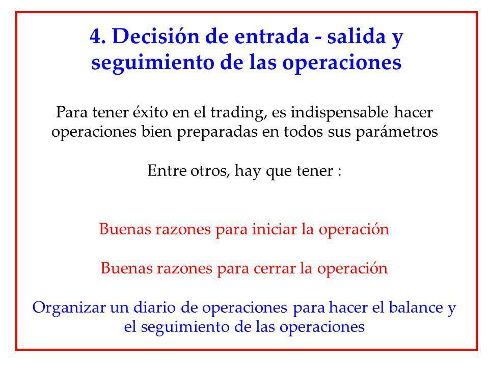 Para tener éxito en el trading, es indispensable hacer operaciones bien preparadas en todos sus parámetros Entre otros, hay que tener : Buenas razones
