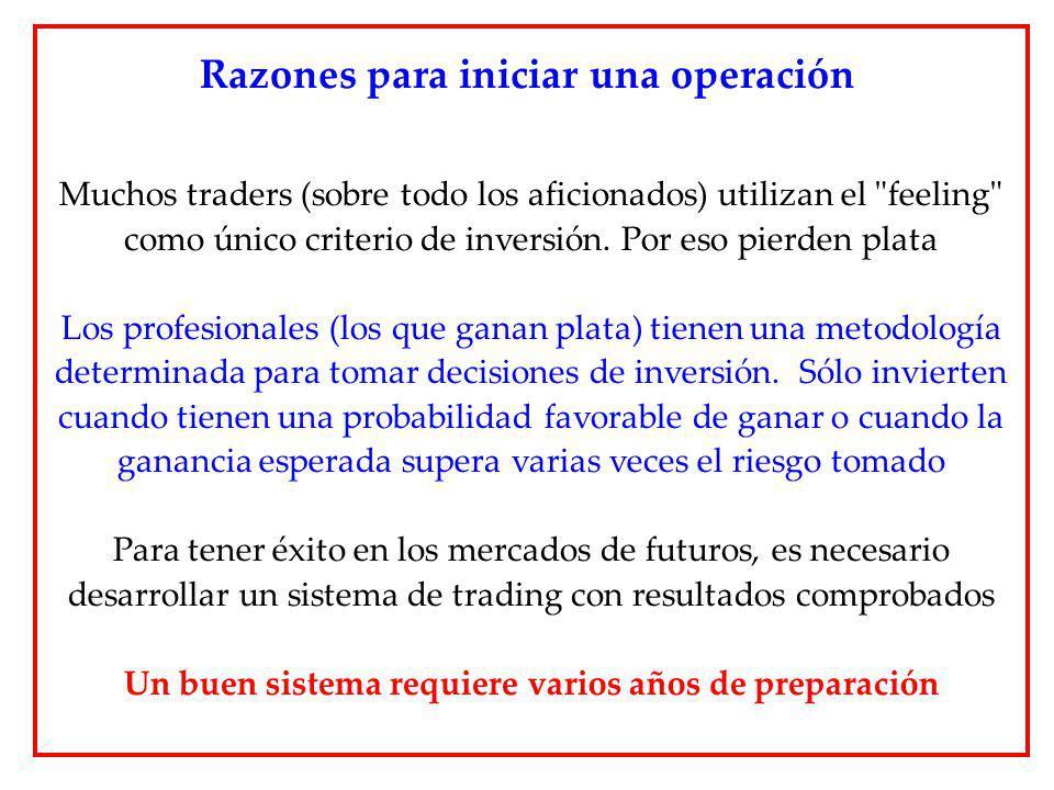 Razones para iniciar una operación Muchos traders (sobre todo los aficionados) utilizan el