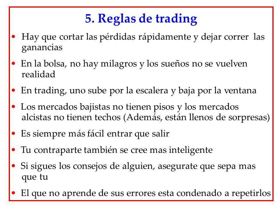 Hay que cortar las pérdidas rápidamente y dejar correr las ganancias En la bolsa, no hay milagros y los sueños no se vuelven realidad En trading, uno