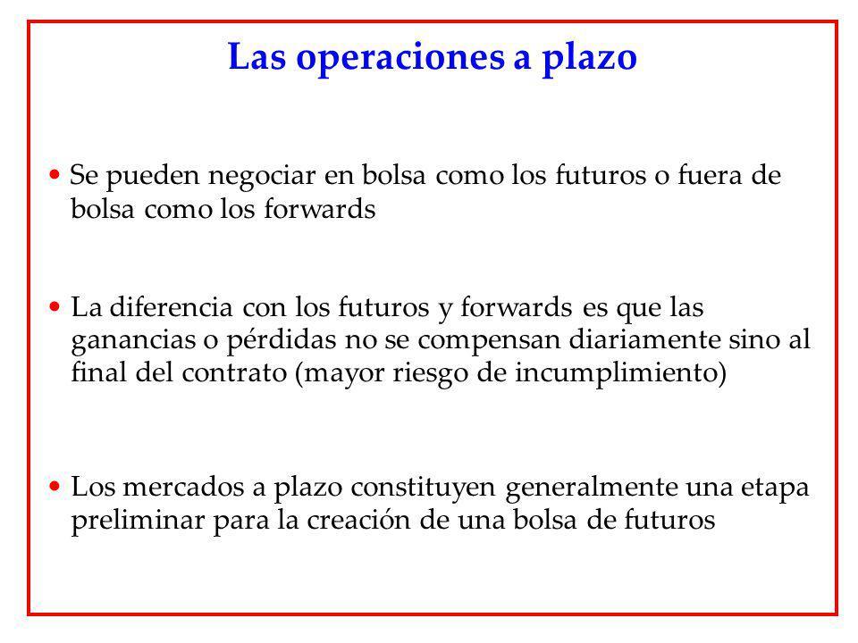 Se pueden negociar en bolsa como los futuros o fuera de bolsa como los forwards La diferencia con los futuros y forwards es que las ganancias o pérdid