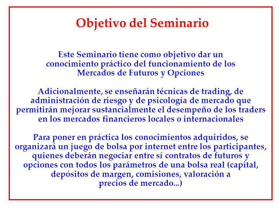 Objetivo del Seminario Este Seminario tiene como objetivo dar un conocimiento práctico del funcionamiento de los Mercados de Futuros y Opciones Adicio