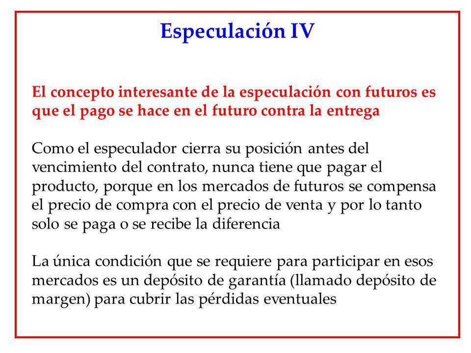 El concepto interesante de la especulación con futuros es que el pago se hace en el futuro contra la entrega Como el especulador cierra su posición an