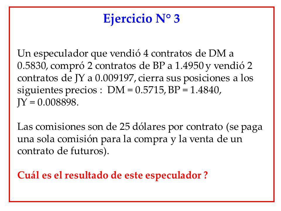 Un especulador que vendió 4 contratos de DM a 0.5830, compró 2 contratos de BP a 1.4950 y vendió 2 contratos de JY a 0.009197, cierra sus posiciones a