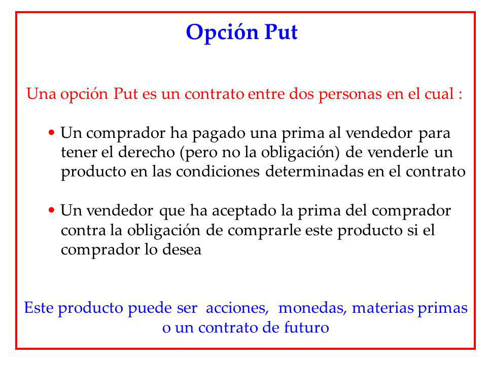 Una opción Put es un contrato entre dos personas en el cual : Un comprador ha pagado una prima al vendedor para tener el derecho (pero no la obligació