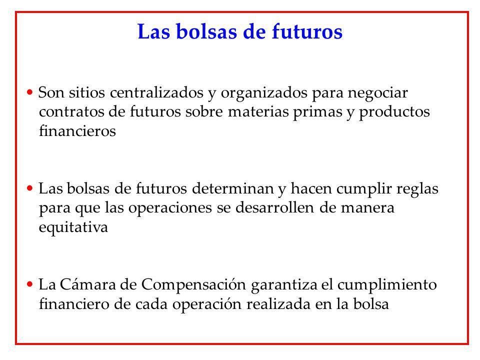 Son sitios centralizados y organizados para negociar contratos de futuros sobre materias primas y productos financieros Las bolsas de futuros determin