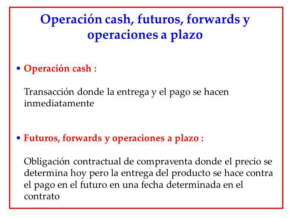 Operación cash : Transacción donde la entrega y el pago se hacen inmediatamente Futuros, forwards y operaciones a plazo : Obligación contractual de co