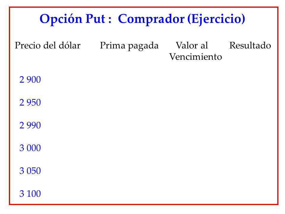 Precio del dólar Prima pagada Valor al Resultado Vencimiento 2 900 2 950 2 990 3 000 3 050 3 100 Opción Put : Comprador (Ejercicio)