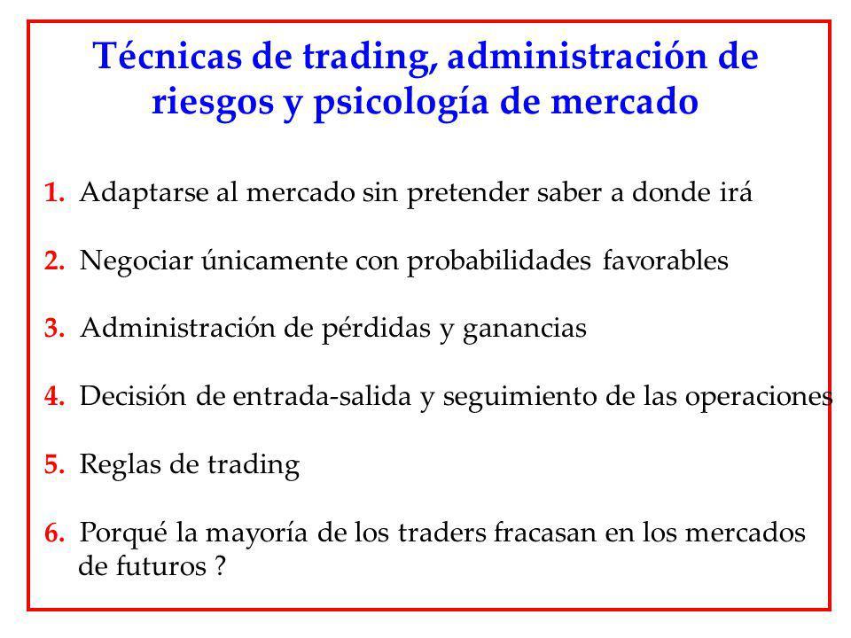 1. Adaptarse al mercado sin pretender saber a donde irá 2. Negociar únicamente con probabilidades favorables 3. Administración de pérdidas y ganancias
