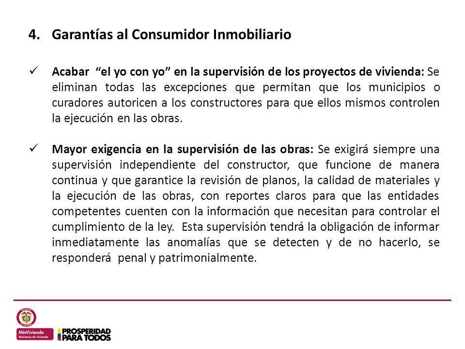 Acabar el yo con yo en la supervisión de los proyectos de vivienda: Se eliminan todas las excepciones que permitan que los municipios o curadores auto