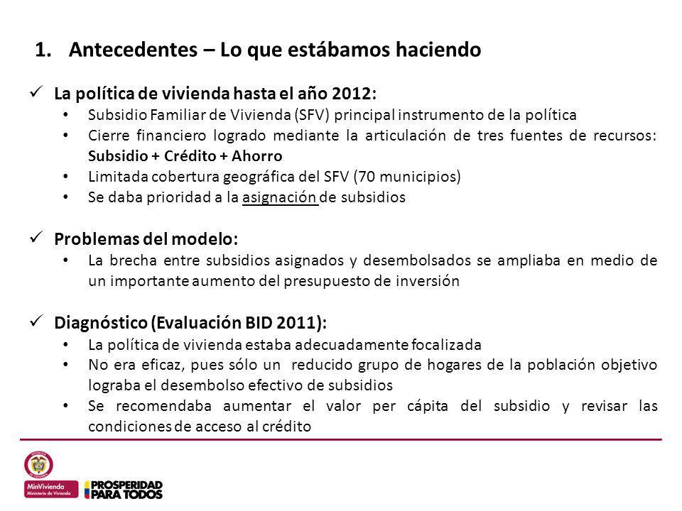 1.Antecedentes – Lo que estábamos haciendo La política de vivienda hasta el año 2012: Subsidio Familiar de Vivienda (SFV) principal instrumento de la