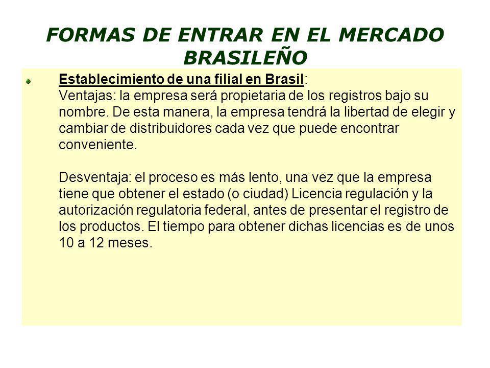 FORMAS DE ENTRAR EN EL MERCADO BRASILEÑO Establecimiento de una filial en Brasil: Ventajas: la empresa será propietaria de los registros bajo su nombr