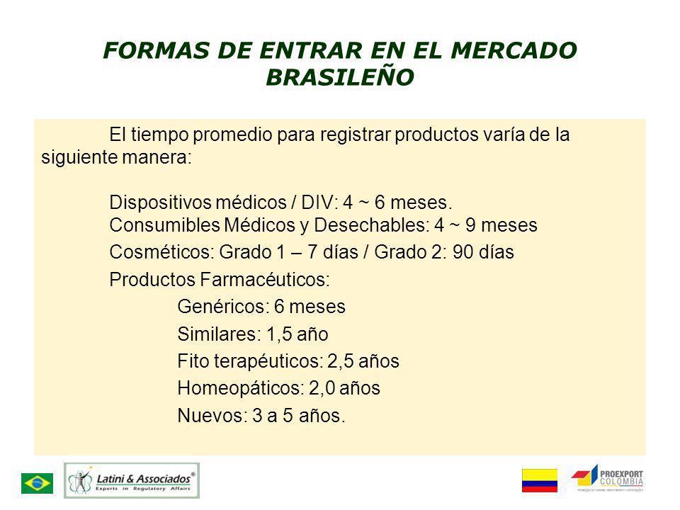 FORMAS DE ENTRAR EN EL MERCADO BRASILEÑO El tiempo promedio para registrar productos varía de la siguiente manera: Dispositivos médicos / DIV: 4 ~ 6 m